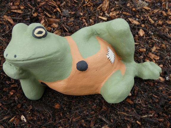 Frog In Dungarees Garden Ornaments